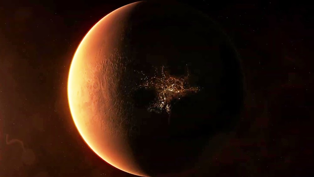 Mars globe with city lights in TerraGenesis game