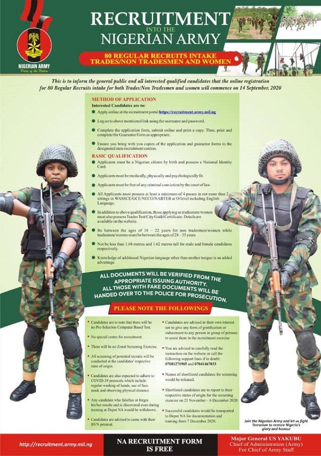 Join Nigeria Army 80rri Recruitment 2020/2021