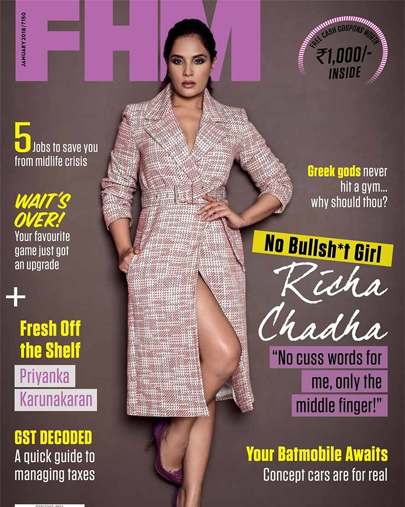 Richa Chadda at FHM Magazine Cover