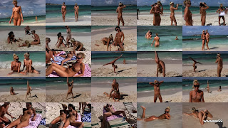 Naked girls on public beach.