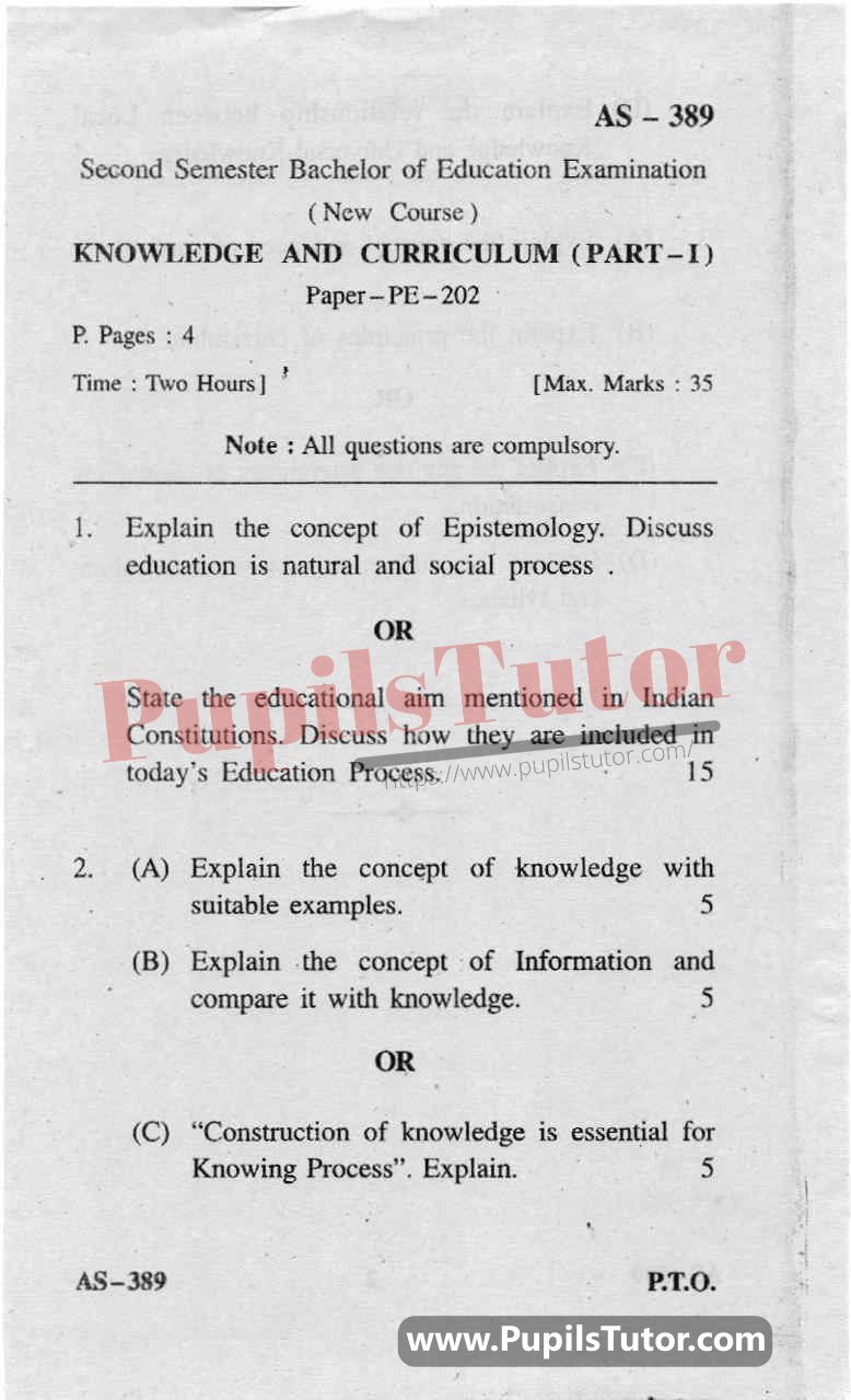 Knowledge And Curriculum Question Paper In English