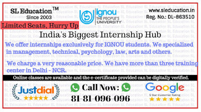 India's Biggest Internship Hub (Specialized in IGNOU) Call: 81-81-096-096