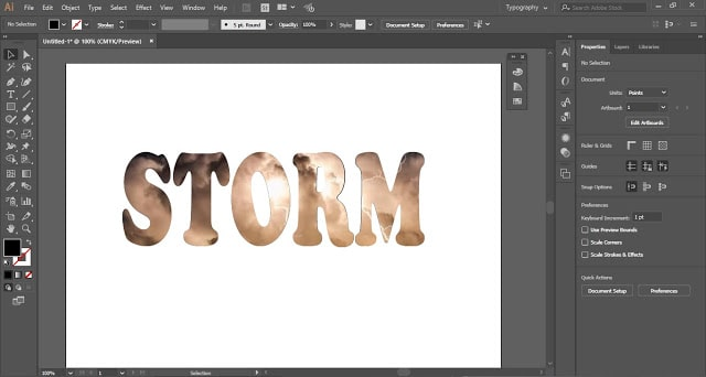 Photographic Texture in a text in Adobe Illustrator