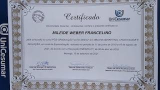 Certificado Pós Graduação Unicesumar