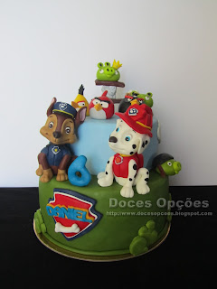 A Patrulha Pata foi ajudar os Angry Birds na festa do 6º aniversário do Daniel