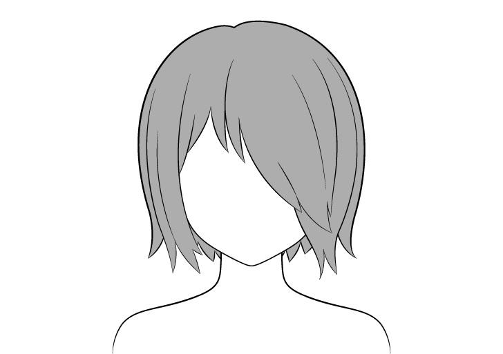 Rambut anime di atas satu pewarnaan mata