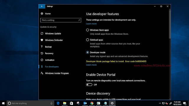 How to fix windows 10 developer mode package failed to install error code 0x80004005