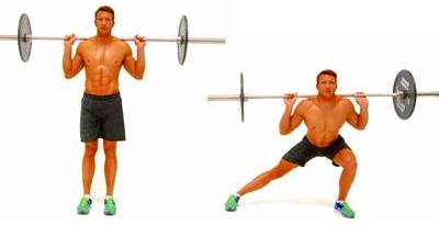 Side lunges with barbell