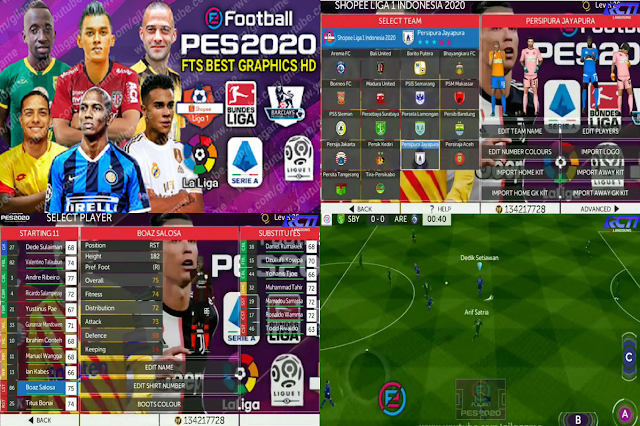 FTS Mod PES 2020 Shopee Liga 1 Indonesia & Full Eropa 2020/2021 HD