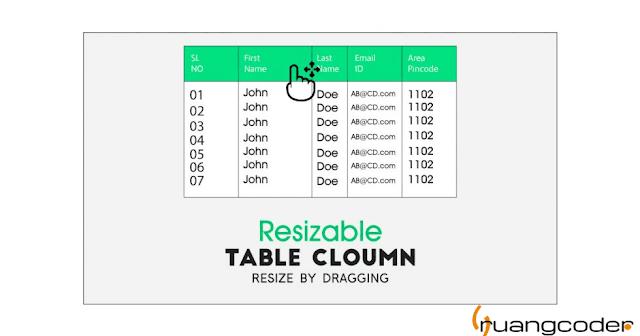Cara Resize Table Columns HTML menggunakan Fitur Drag and Slide