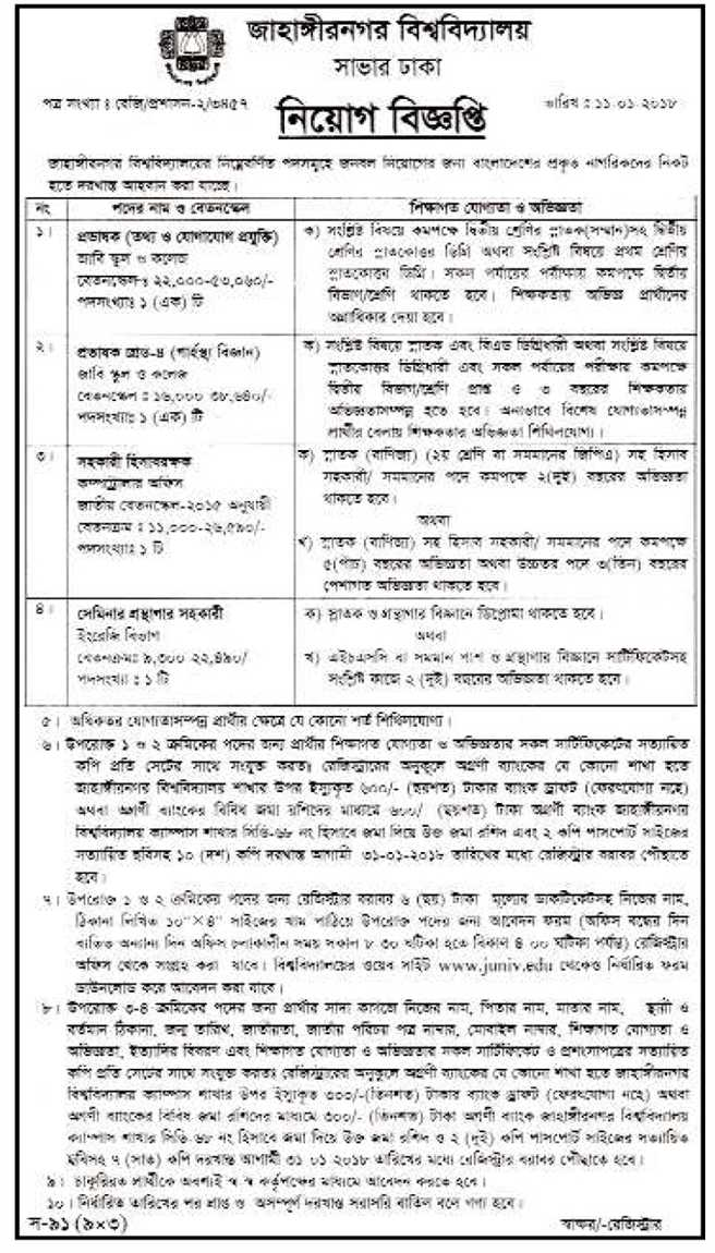 Jahangirnagar University Job Circular 2018