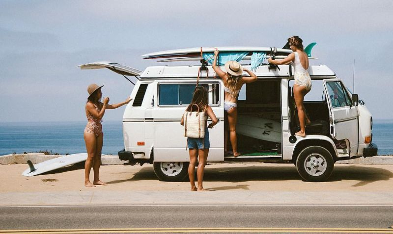 Women van surfing trip