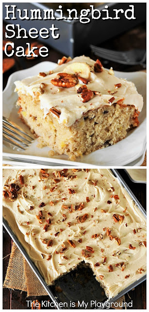 Hummingbird Sheet Cake with Caramel Cream Cheese Frosting ~ Loaded with banana and pineapple, this is one amazingly delicious dessert! It's all the hummingbird deliciousness of the classic layer cake, in low-fuss sheet cake form. www.thekitchenismyplayground.com