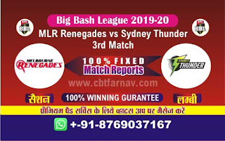 Renegades vs Thunder 3rd Match BBL T20 Today Match Prediction Reports