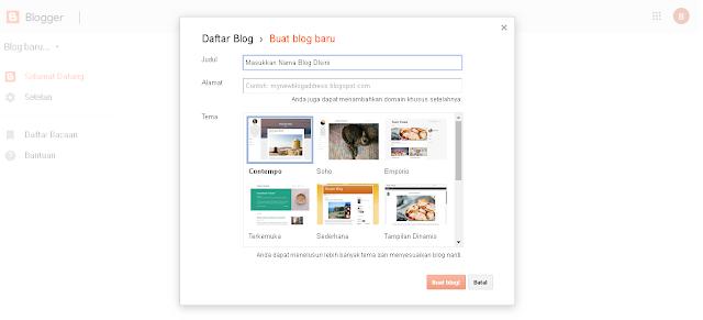 Cara Membuat Blog Gratis di Blogger.com Untuk Pemula