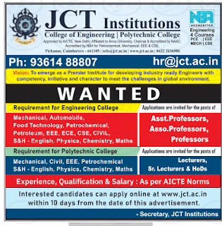 JCT Polytechnic College Lecturer jobs.