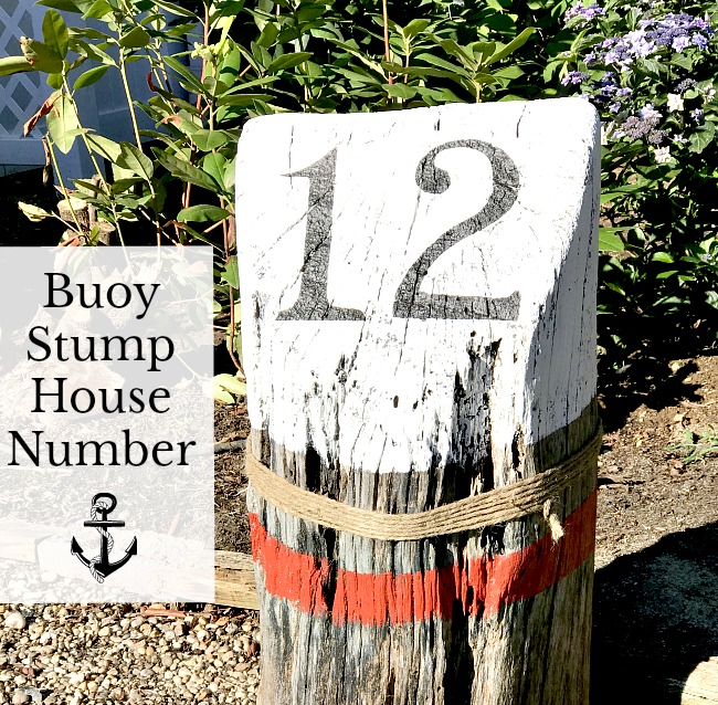 buoy stump driftwood house number