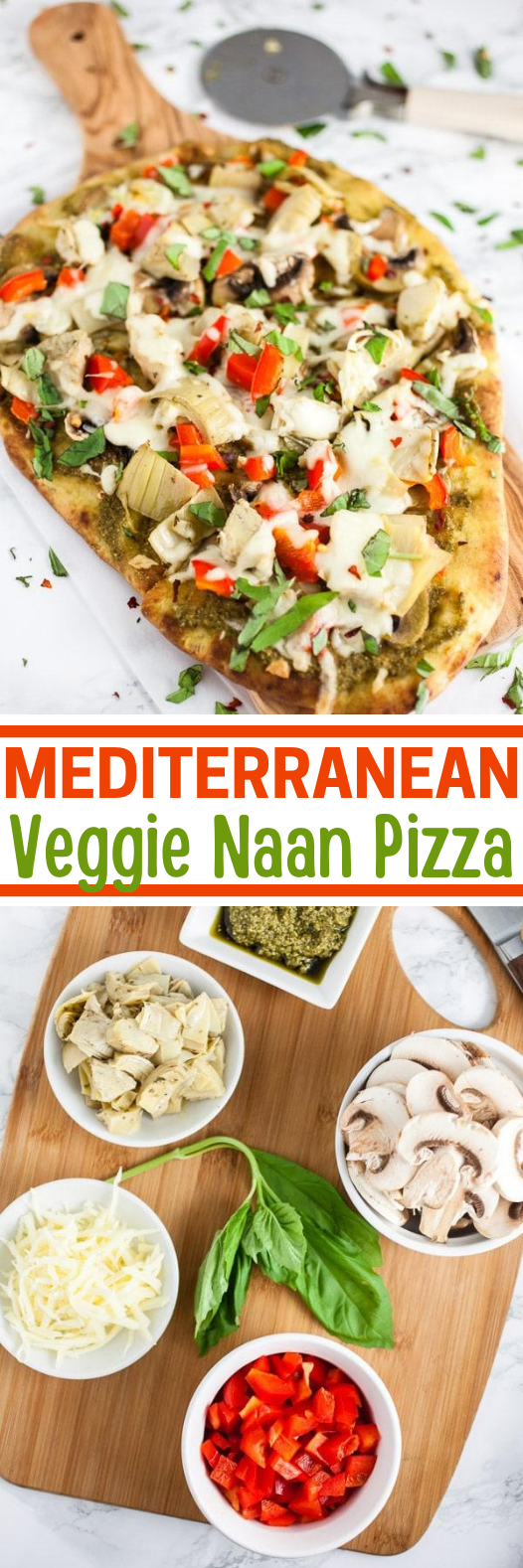 Mediterranean Veggie Naan Pizza #vegetarian #recipe #meatless #pizza #healthy