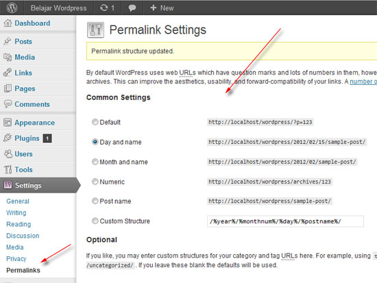 setting permalink wordpress