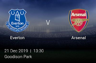 LIVE MATCH: Everton Vs Arsenal Premier League 21/12/2019