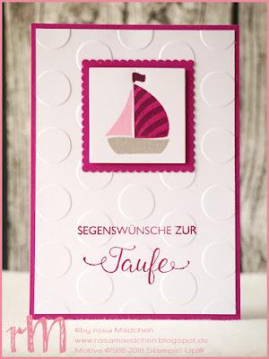 Stampin' Up! rosa Mädchen Kulmbach: Taufkarten mit Segensfeste und Swirly Bird