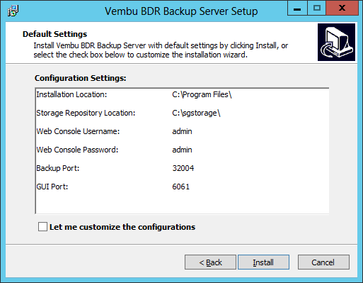 Vembu: BDR instalación sobre Windows