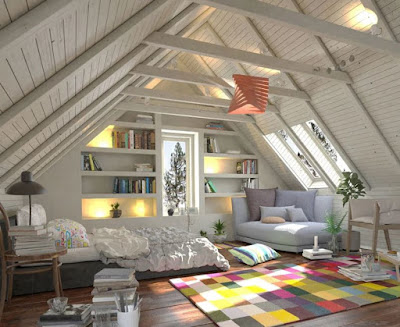 Attic bedroom ideas with colorful rug and intriguing decoration