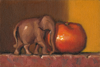 Still life oil painting of a small wooden elephant beside a mandarine.