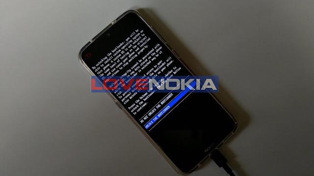 Nokia 7.2 Bootloader Unlock Confirmation Screen