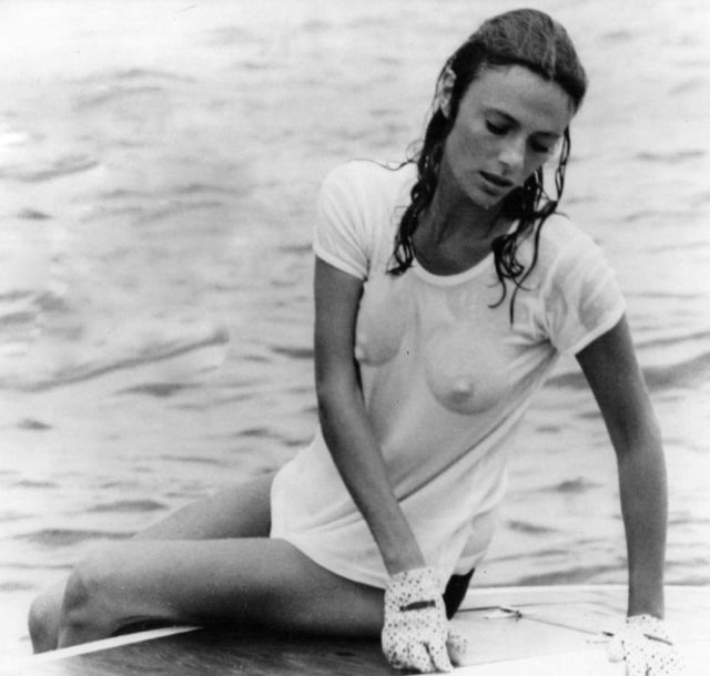 Jacqueline Bisset on the stern of Sunkiss