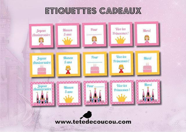Etiquettes cadeaux Kit anniversaire personnalisé princesse fille rose à imprimer tête de coucou