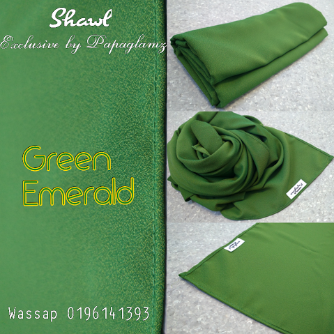 green emerald shawl by papaglamz, shawl exclusive by papaglamz, shawl untuk raya, shawl online murah,