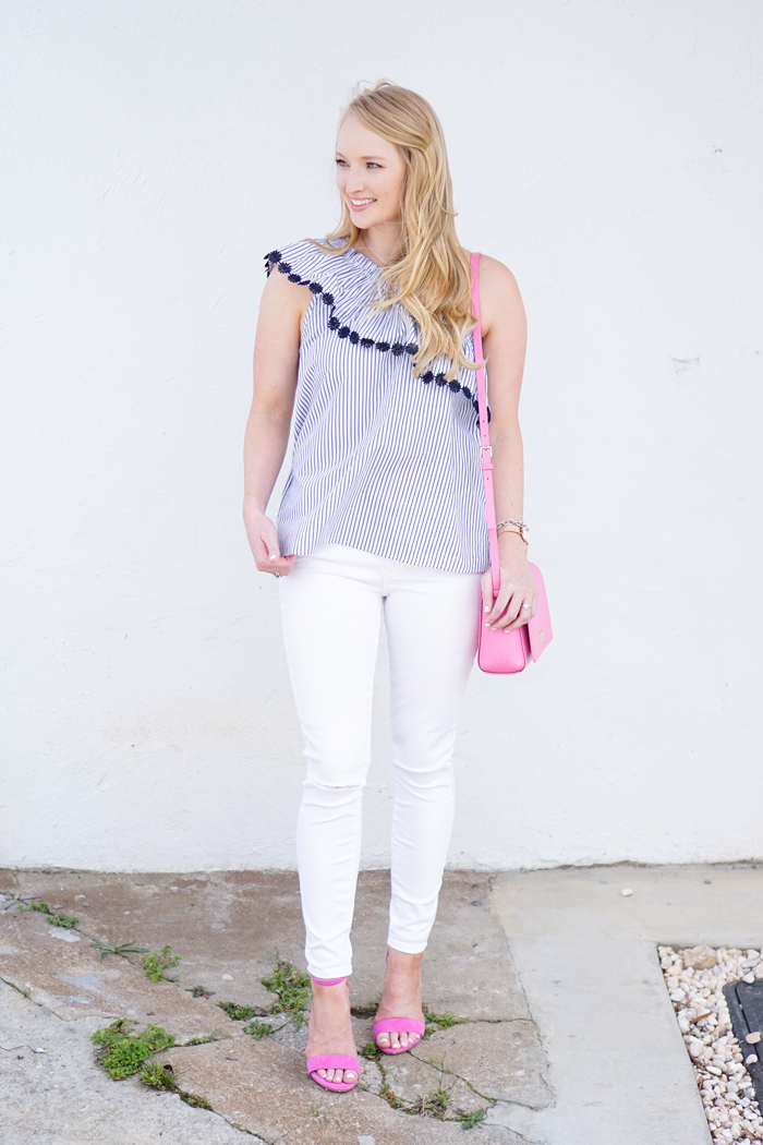 embroidered top, one shoulder top, loft outfit, pink accessories
