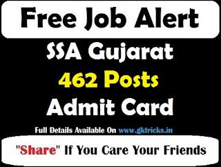 SSA Gujarat 462 Posts Admit Card
