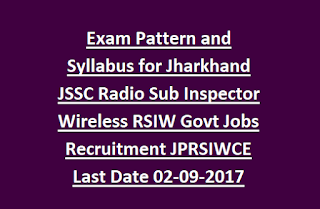 Exam Pattern and Syllabus for Jharkhand JSSC Radio Sub Inspector Wireless RSIW Govt Jobs Recruitment JPRSIWCE 2017