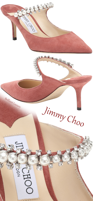 Jimmy Choo Bing dark red pearl bejeweled suede mules #brilliantluxury