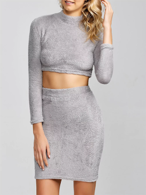 Cropped Sweater and Knitted Bodycon Skirt
