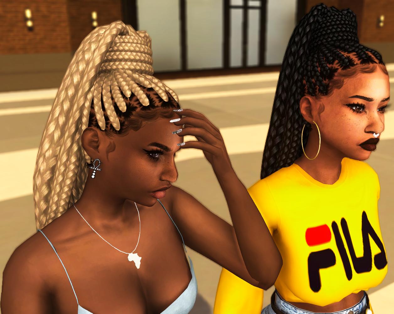 Sims 4 Cc S The Best Goddess Braid Pony By Ebonix