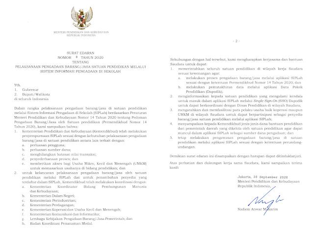 surat edaran mendikbud nomor 8 tahun 2020 tentang pengadaan barang jasa di satuan pendidikan pdf tomatalikuang.com