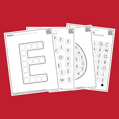 Letter E dot markers free preschool coloring pages ,learn alphabet ABC for toddlers