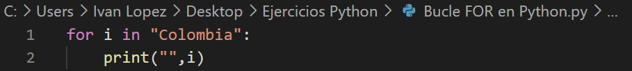 Recorrer una cadena de caracteres en Python