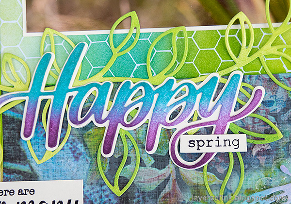 Layers of ink - Spring has sprung scrapbooking layout by Anna-Karin Evaldsson. Outline Clustered Leaves and Big Happy.