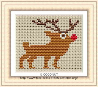 Reindeer, Free and easy printable cross stitch pattern
