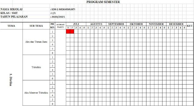 Promes Kelas 1 SD Semester 1 Kurikulum 2013 Tahun 2020/2021 - Guru Krebet 3