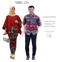 Batik Pasangan SBRG 133 Couple Gamis Kebaya Modern Maroon