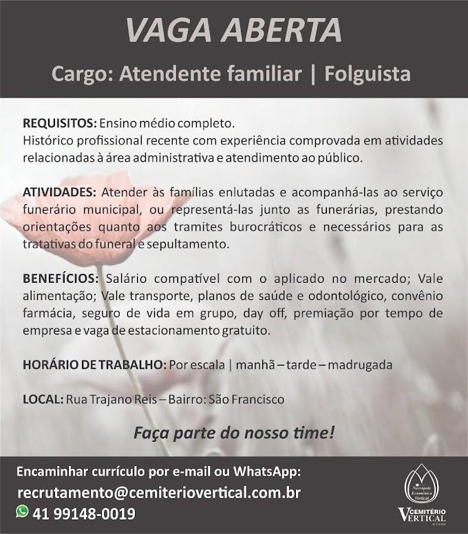 Atendente Familiar - Folguista, Curitiba, PR