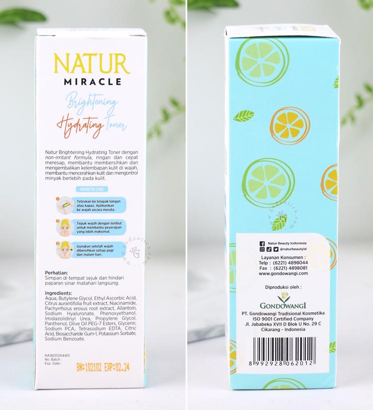 Natur Miracle Brightening Hydrating Toner Ingredients