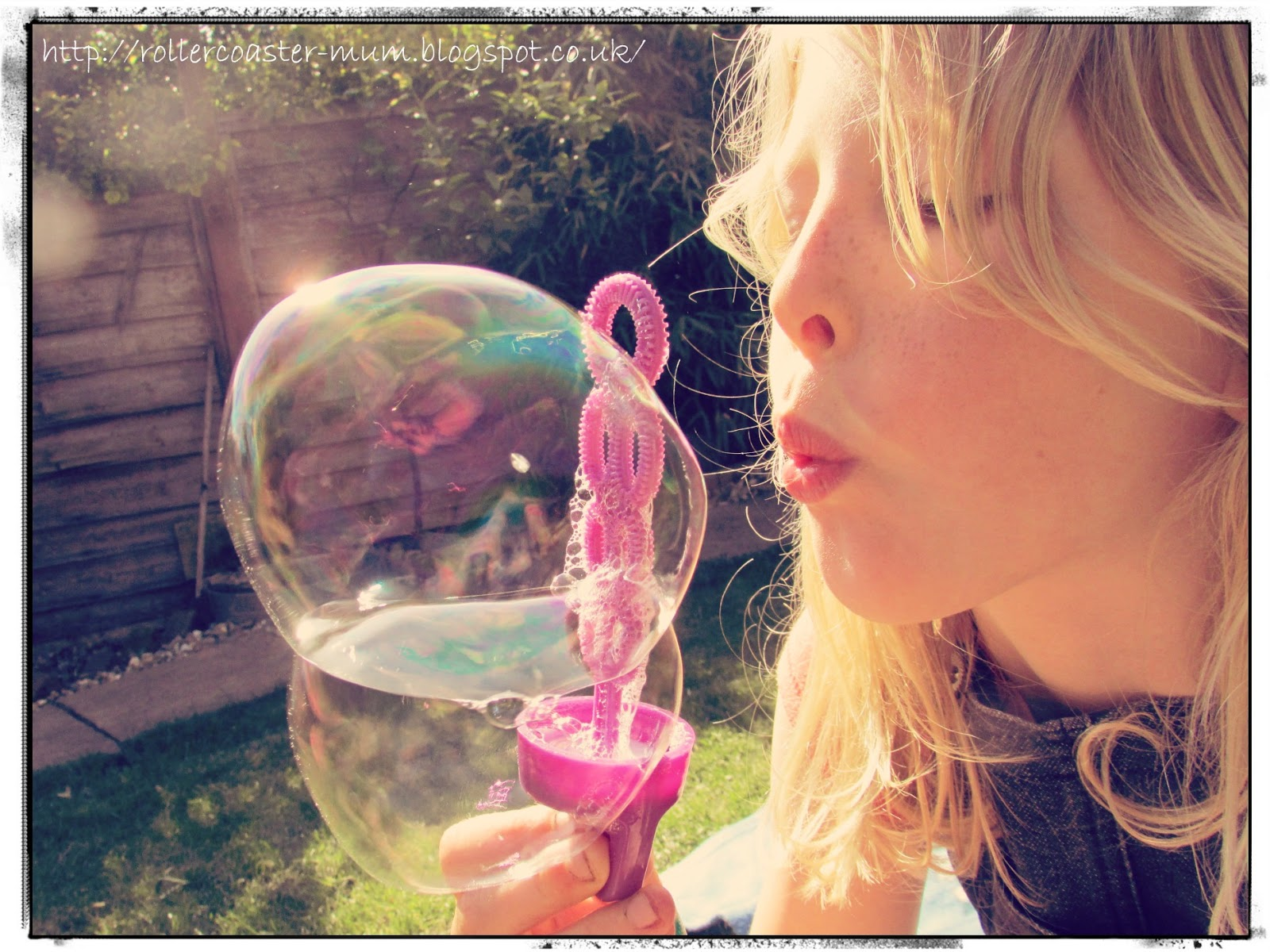 Blowing bubbles in the garden