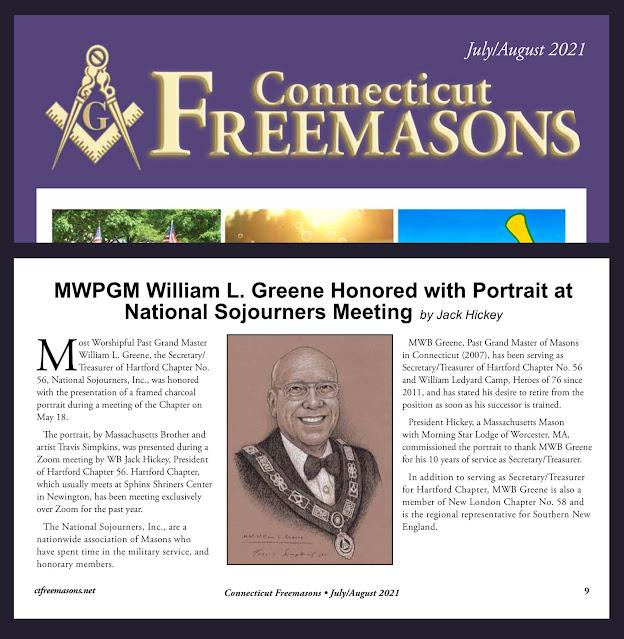 Connecticut Freemasons magazine. Grand Lodge of Connecticut. Portrait of M.W. William L. Greene. by Travis Simpkins