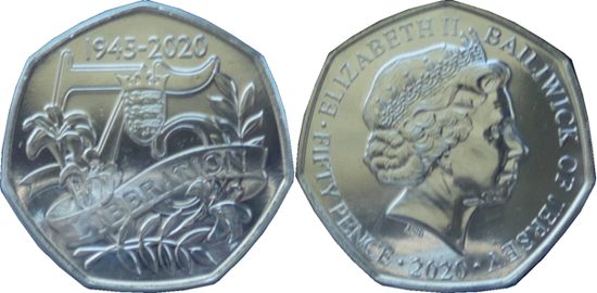 Jersey 50 pence 2020 - 75th Anniversary of V. E. Day